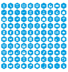 100 mail icons set blue vector