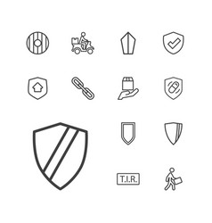 13 shield icons vector image