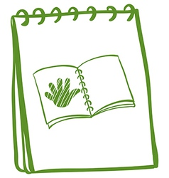 A notebook with a sketch of a book with a hand at vector