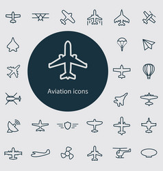 aviation outline thin flat digital icon set vector image