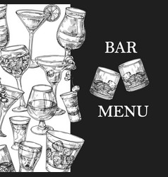 bar menu template with hand drawn drinks vector image