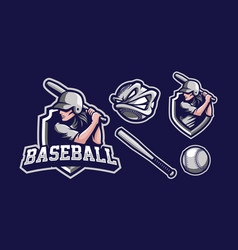 baseball girl mascot logo design vector image