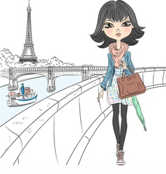 Beautiful fashion girl in a scarf in Paris vector
