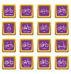 bicycle types icons set purple square vector image