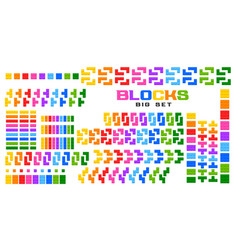 Big set blocks toy in many colors vector