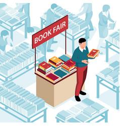 book fair isometric vector image