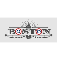 Boston city name with flag colors styled letter O vector image