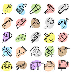 building tools trendy icon set eps10 vector image