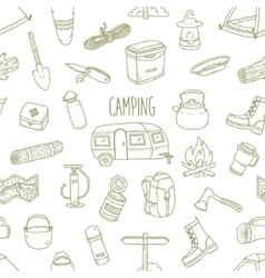 Camping hand drawn seamless pattern vector image