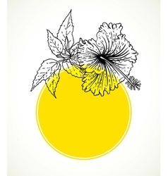 Card with hibiscus on yellow circle frame vector