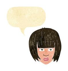 Cartoon annoyed girl with big hair with speech vector