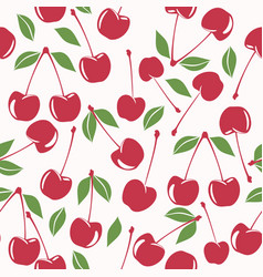 cherry seamless pattern on pink background vector image