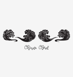 Chinese cloud silhouette line art vector