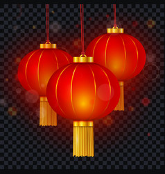 chinese red paper glowing lantern vector image