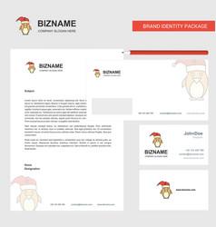 Christmas penguin business letterhead envelope vector