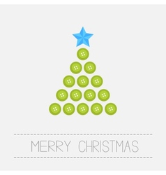 Christmas triangle tree from green buttons merry vector