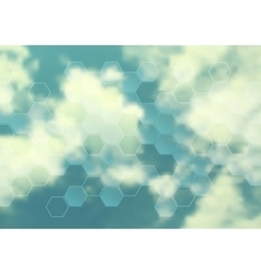 Cloudscape design with hexagon texture vector image