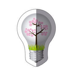 Color sticker silhouette with bulb light and pink vector