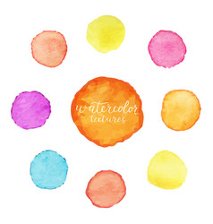 Colorful circles of watercolor paint set of vector