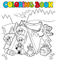 Coloring book with camping kids vector