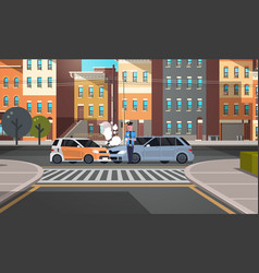 crashed car road accident police officer vector image