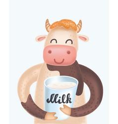 cute cow cartoon giving thumb up vector image