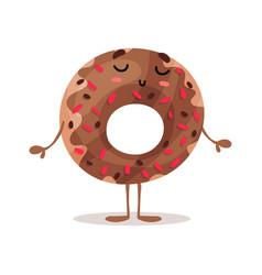 cute funny glazed donut cartoon character vector image