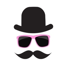 Cute Handdrawn Glasses Hat and a Mustache vector
