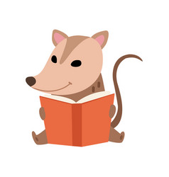 cute opossum sitting and reading book adorable vector image