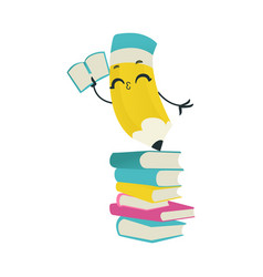 cute pencil cartoon character with book stand on vector image