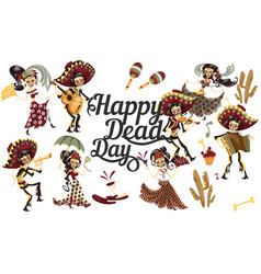 day dead people skeletons party poster vector image