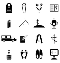 Death and funeral icons set simple style vector