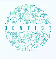 dentist concept in circle with thin line icons vector image