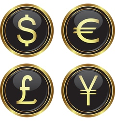 Dollar euro yen and pound icons vector image