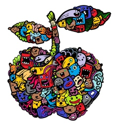 Doodle apple cartoon vector