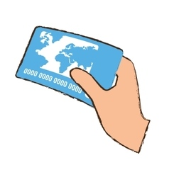 Drawing hand holds blue credit card bank vector