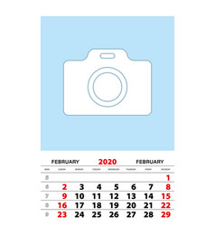 February 2020 calendar planner a3 size with place vector