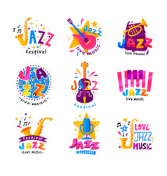 flat set of abstract logos for jazz vector image