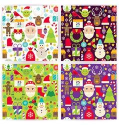 Four Flat Merry Christmas Patterns Set vector