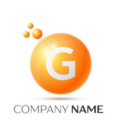 G letter splash orange dots and circle bubble vector