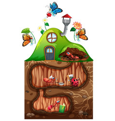 Gardening theme with insects in their home vector