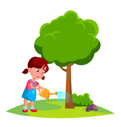 Girl child watering tree earth day concept vector
