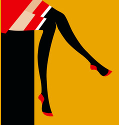 girl showing her stockings vector image