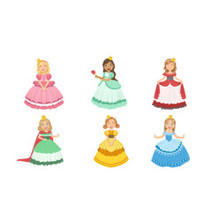 Girls princesses chracters in different colorful vector