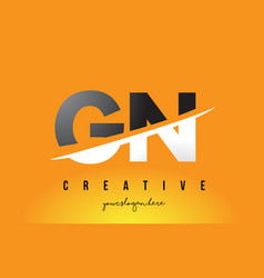 Gn g n letter modern logo design with yellow vector