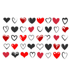 hand drawn heart icon set vector image