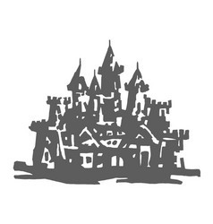 hand drawn of castle on white vector image