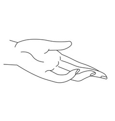hand giving or taking line art palm and fingers vector image