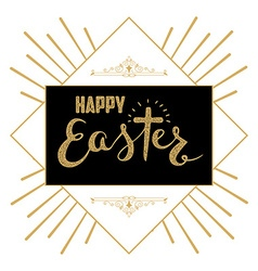 happy easter hand drawn lettering easter greeting vector image