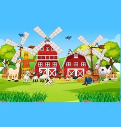 happy farm animal scene vector image